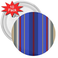 Colorful Stripes 3  Buttons (10 Pack)  by Simbadda