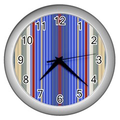 Colorful Stripes Wall Clocks (silver)
