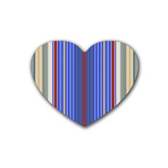 Colorful Stripes Rubber Coaster (heart)  by Simbadda