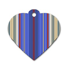 Colorful Stripes Dog Tag Heart (two Sides)