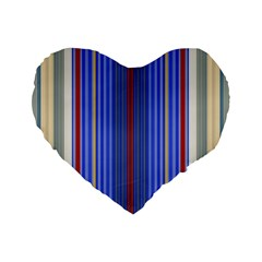 Colorful Stripes Standard 16  Premium Flano Heart Shape Cushions by Simbadda
