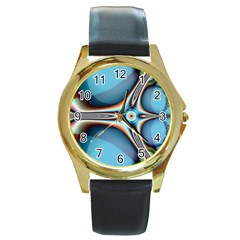 Fractal Beauty Round Gold Metal Watch by Simbadda