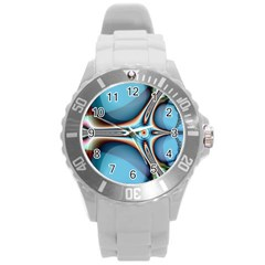 Fractal Beauty Round Plastic Sport Watch (l) by Simbadda