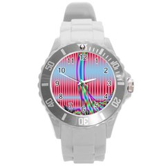 Fractal Tree Round Plastic Sport Watch (l) by Simbadda