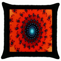 Red Fractal Spiral Throw Pillow Case (black) by Simbadda