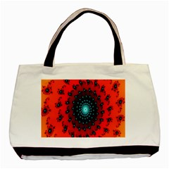 Red Fractal Spiral Basic Tote Bag by Simbadda