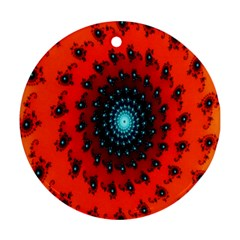 Red Fractal Spiral Round Ornament (two Sides) by Simbadda