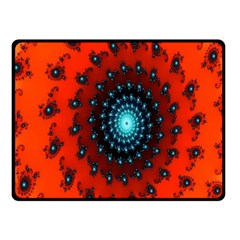 Red Fractal Spiral Fleece Blanket (small) by Simbadda