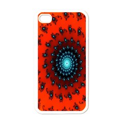 Red Fractal Spiral Apple Iphone 4 Case (white) by Simbadda