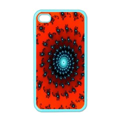 Red Fractal Spiral Apple Iphone 4 Case (color) by Simbadda