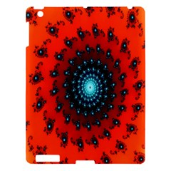 Red Fractal Spiral Apple Ipad 3/4 Hardshell Case by Simbadda