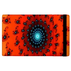 Red Fractal Spiral Apple Ipad 2 Flip Case by Simbadda