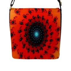 Red Fractal Spiral Flap Messenger Bag (l)  by Simbadda