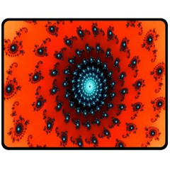 Red Fractal Spiral Double Sided Fleece Blanket (medium)  by Simbadda