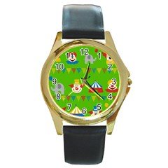 Circus Round Gold Metal Watch