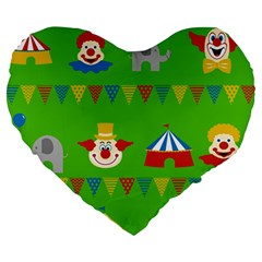 Circus Large 19  Premium Heart Shape Cushions