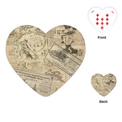 Vintage Newspaper  Playing Cards (heart)  by Valentinaart