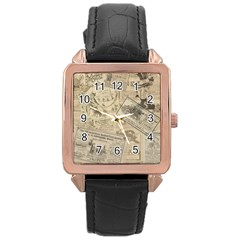 Vintage Newspaper  Rose Gold Leather Watch