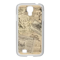 Vintage Newspaper  Samsung Galaxy S4 I9500/ I9505 Case (white) by Valentinaart