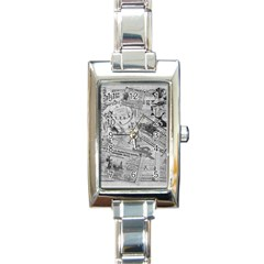 Vintage Newspaper  Rectangle Italian Charm Watch