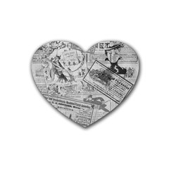 Vintage Newspaper  Heart Coaster (4 Pack)  by Valentinaart