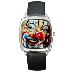 Clown Square Metal Watch by Valentinaart