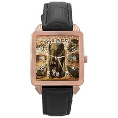 Vintage Circus  Rose Gold Leather Watch  by Valentinaart
