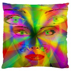 Rainbow Girl Large Cushion Case (two Sides) by Valentinaart