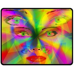 Rainbow Girl Double Sided Fleece Blanket (medium)  by Valentinaart