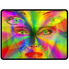 Rainbow Girl Double Sided Fleece Blanket (large)  by Valentinaart