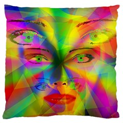 Rainbow Girl Large Flano Cushion Case (two Sides) by Valentinaart
