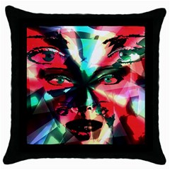 Abstract Girl Throw Pillow Case (black) by Valentinaart
