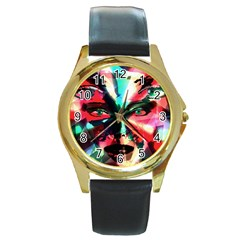 Abstract Girl Round Gold Metal Watch by Valentinaart
