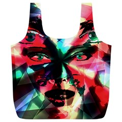 Abstract Girl Full Print Recycle Bags (l)  by Valentinaart