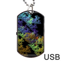 Fractal Forest Dog Tag Usb Flash (two Sides) by Simbadda