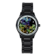 Fractal Forest Stainless Steel Round Watch by Simbadda