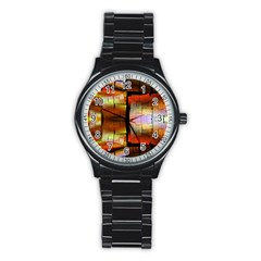 Fractal Tiles Stainless Steel Round Watch by Simbadda