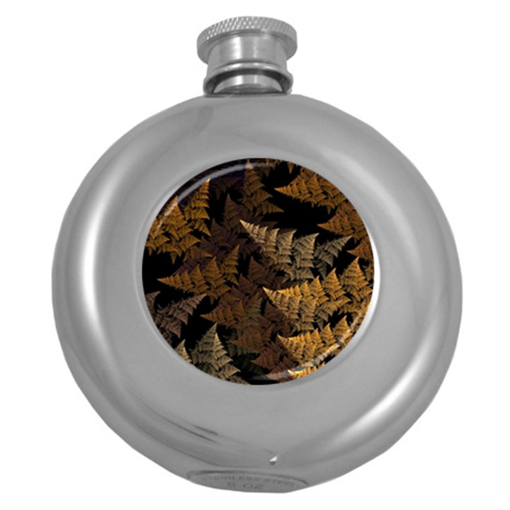 Fractal Fern Round Hip Flask (5 oz)