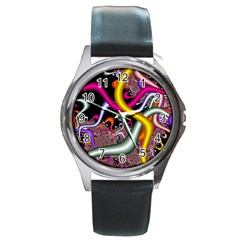 Fractal Roots Round Metal Watch by Simbadda