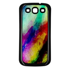 Abstract Colorful Paint Splats Samsung Galaxy S3 Back Case (black)