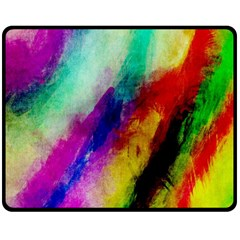 Abstract Colorful Paint Splats Double Sided Fleece Blanket (medium)  by Simbadda
