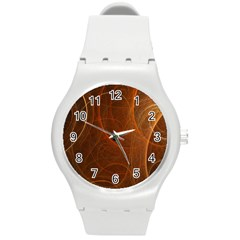 Fractal Color Lines Round Plastic Sport Watch (m) by Simbadda