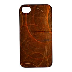 Fractal Color Lines Apple Iphone 4/4s Hardshell Case With Stand by Simbadda