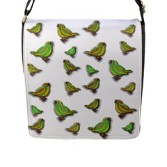 Birds Flap Messenger Bag (l)  by Valentinaart