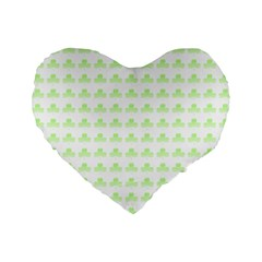 Shamrock Irish St Patrick S Day Standard 16  Premium Flano Heart Shape Cushions by Simbadda
