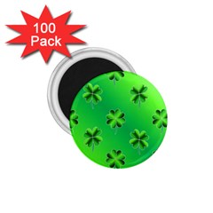 Shamrock Green Pattern Design 1 75  Magnets (100 Pack)