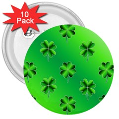 Shamrock Green Pattern Design 3  Buttons (10 Pack)  by Simbadda