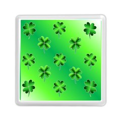 Shamrock Green Pattern Design Memory Card Reader (square)  by Simbadda