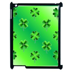 Shamrock Green Pattern Design Apple Ipad 2 Case (black) by Simbadda