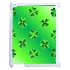 Shamrock Green Pattern Design Apple Ipad 2 Case (white) by Simbadda